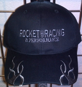 ROCKET RACING BLACK HAT W GREY EMBROIDERED FLAMES